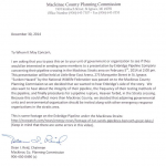 Invitation letter from Mackinac County Planning Commission